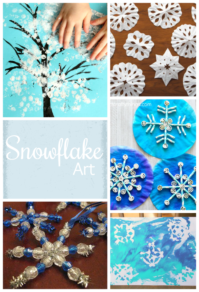 Gorgeous snowflake art for toddlers and preschoolers! These make beautiful winter art projects.