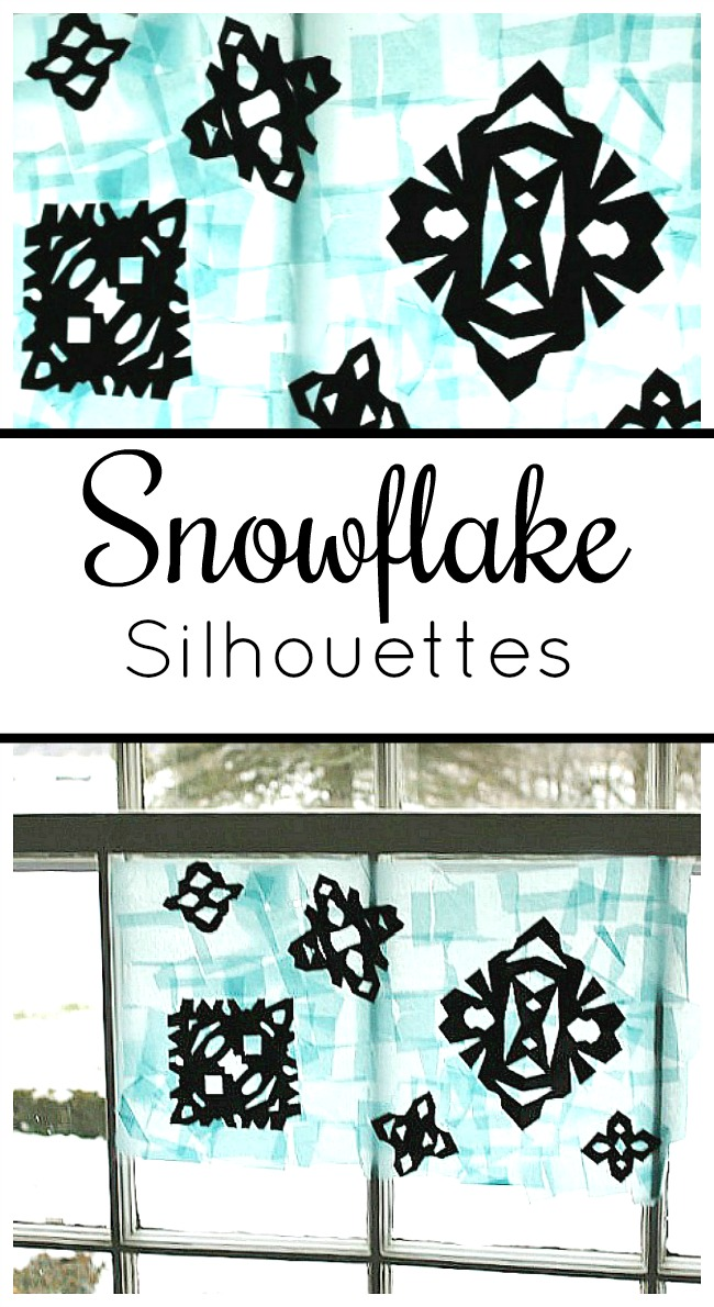A gorgeous winter art project for kids. These snowflake silhouettes use tissue paper for a pretty suncatcher look.