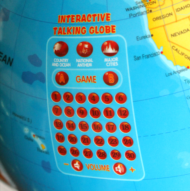 This intereactive globe is such a neat learning tool for kids. Great for homeschoolers! I love that it even has different national anthems! #sponsored #homeschool #geography #littleexperimenters