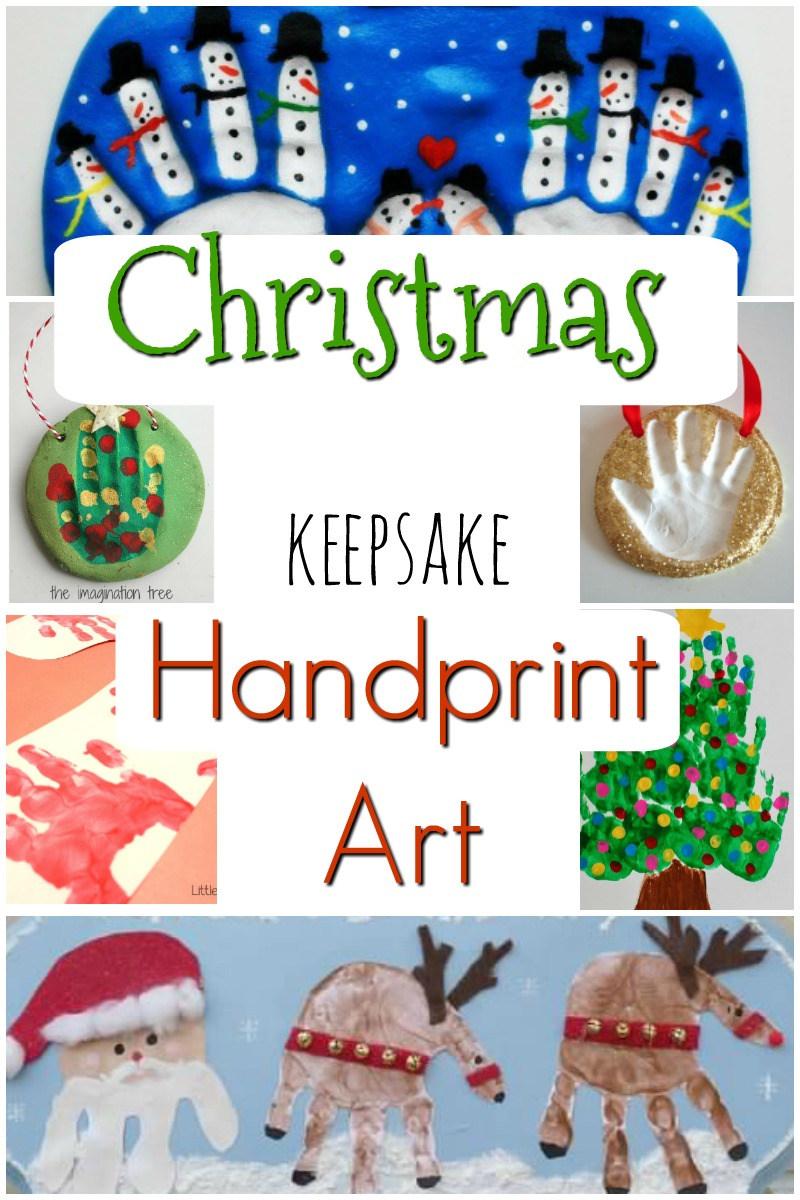 Love handprint art for Christmas gifts! Perfect keepsake crafts for toddlers and preschoolers as gifts for Moms, Dads, and Grandparents! #Christmascrafts #Christmasfun #Christmasactivities #handprint #handprintart #preschool #kidsactivities #toddlers