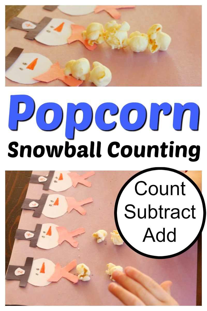 Fun winter snowman math for preschoolers using popcorn! Easy counting activity and yummy too! #countingactivity #preschoolmath #kindergartenmath #preschooler #teachingmath