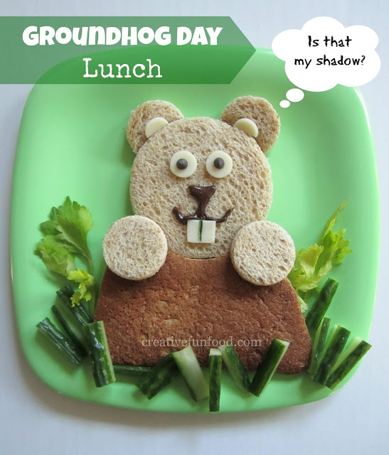 Such a fun lunch idea for preschoolers on Groundhog Day!