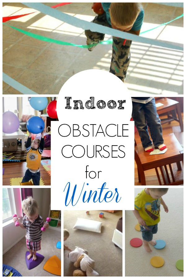 These obstacle course ideas are great for getting preschoolers moving indoors! Perfect winter activities to burn energy and use gross motor skills too.  #grossmotor #preschool #obstaclecourse #winter #toddler