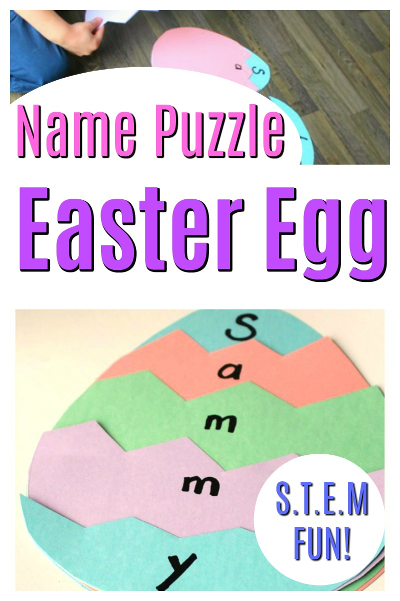 This is such a fun Easter Craft for preschoolers and it has a STEM twist! This name puzzle is full of learning and a great spring activity for little kids! #HowWeeLearn #STEM #Springcrafts #springactivities #preschoolactivities #steam #preschoolcrafts #eastercrafts #easteractivities #easteregg #name #alphabetactivities