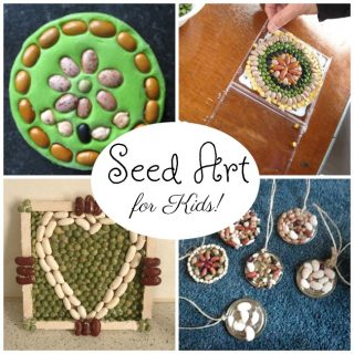 Beautiful seed art for kids! These seed crafts are sure to welcome spring. #spring #seeds #gardening #art