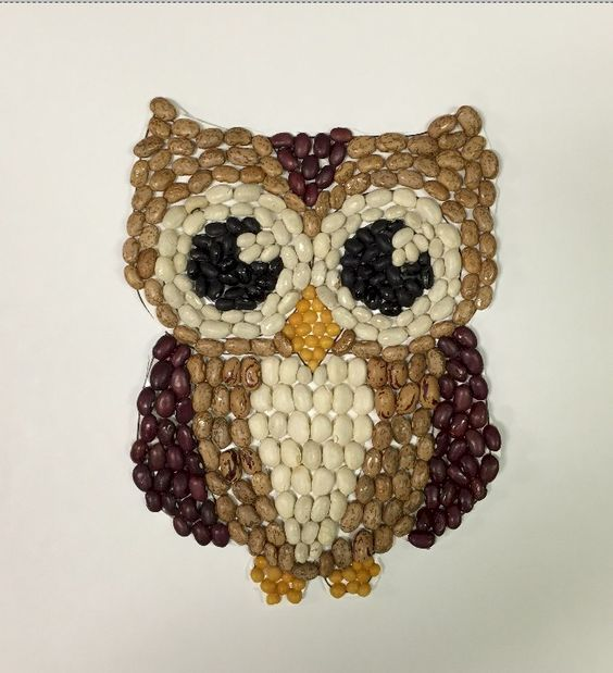 A beautiful owl made from a seed mosaic art technique for kids!