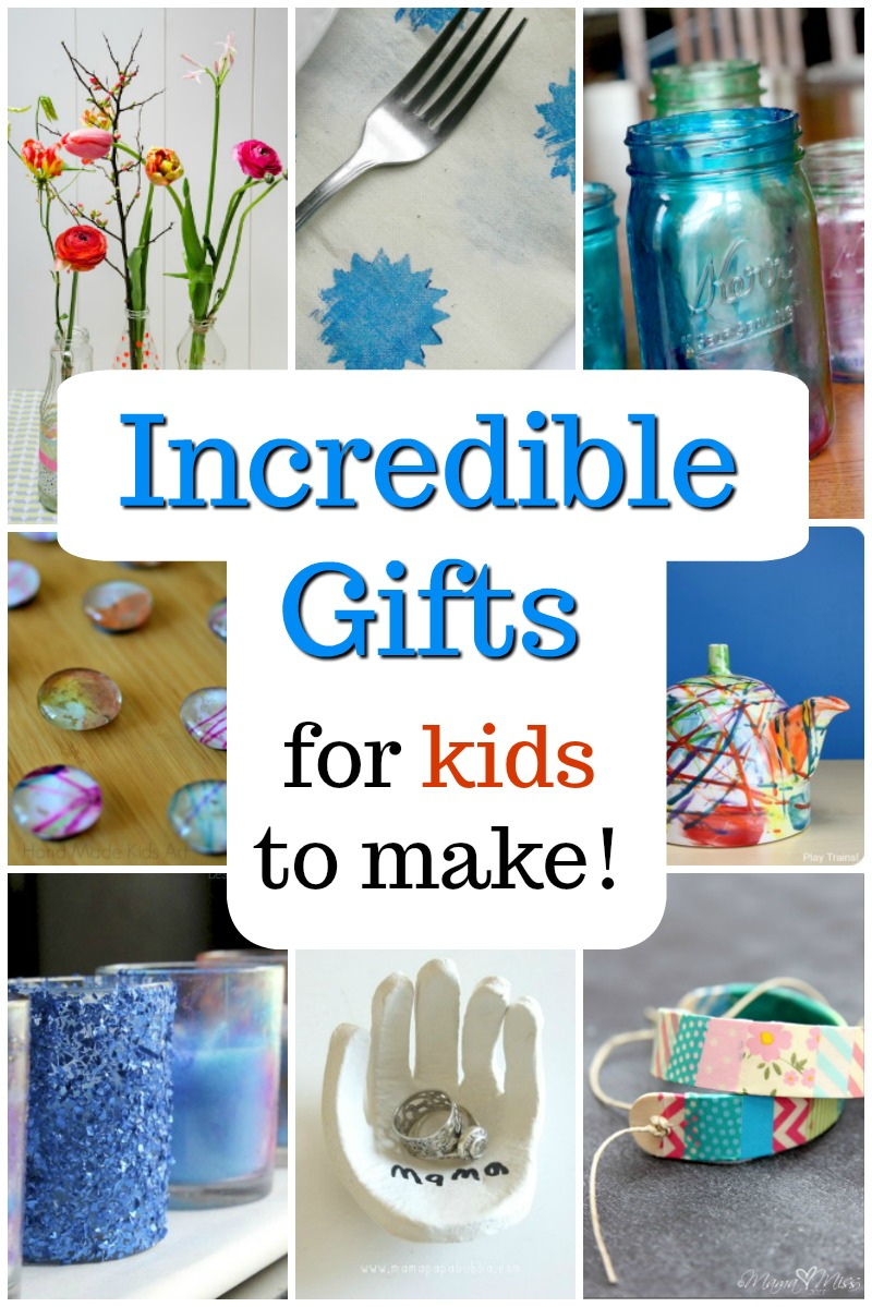 Awesome homemade gift ideas for kids to make! Great presents for Mom, Dad,