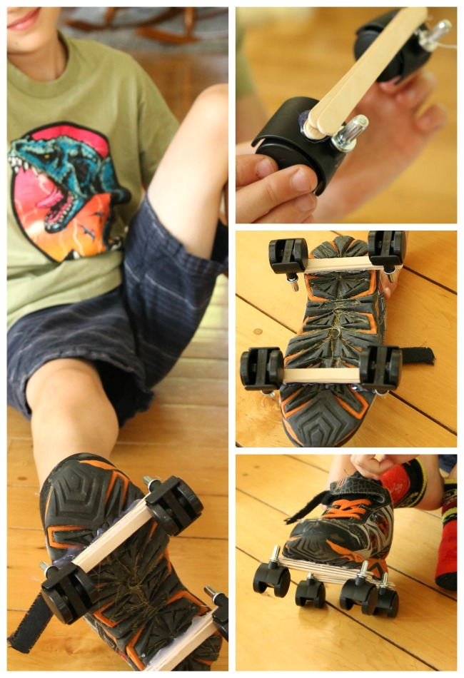 Homemade Rollerskates for kids! Such a great STEAM activity for kids. #steam #stem #homemadetoys #toys #DIY
