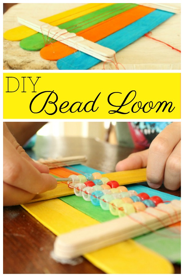 A DIY bead loom made from popsicle sticks. Perfect for making homemade beaded bracelets. #howweelearn #quiettime #independentplay #preschoolactivities #preschoollearning #DIY #tutorial #beadloom #bracelets #ponybeads #crafts