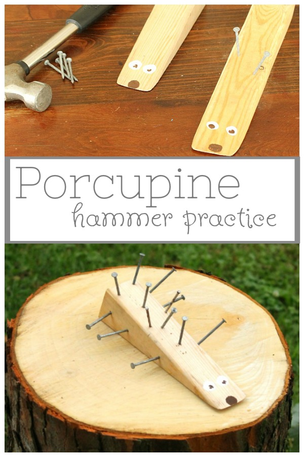 Adorable woodworking craft for kids! Use a hammer and nails to make this cute wooden porcupine. Such a fun craft for preschoolers and big kids too. #craft #hammer #woodworking #kids #preschool #hedgehog #porcupine
