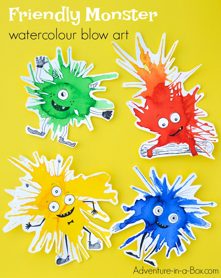 monster blown paint art activity