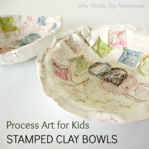 Gorgeous child made clay stamped bowls