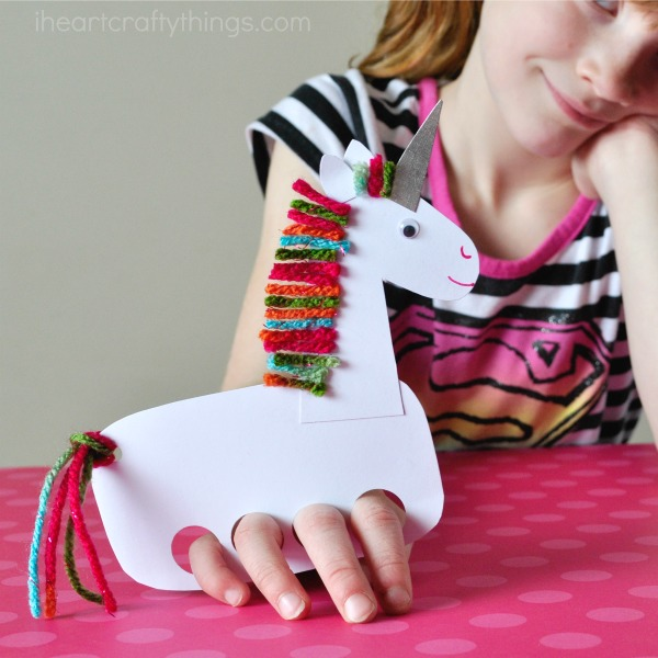 Paper puppet unicorn craft