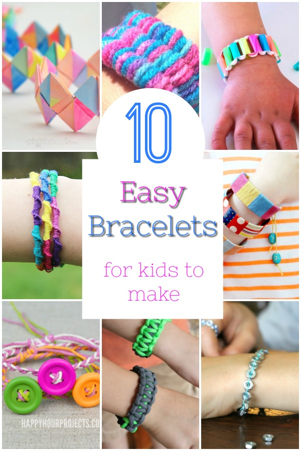 Easy and cool bracelets for kids to make! These DIY bracelets are simple enough for young kids to create. A great craft for a rainy day! #crafts #diy #bracelets #kids #parenting #summer #rainyday