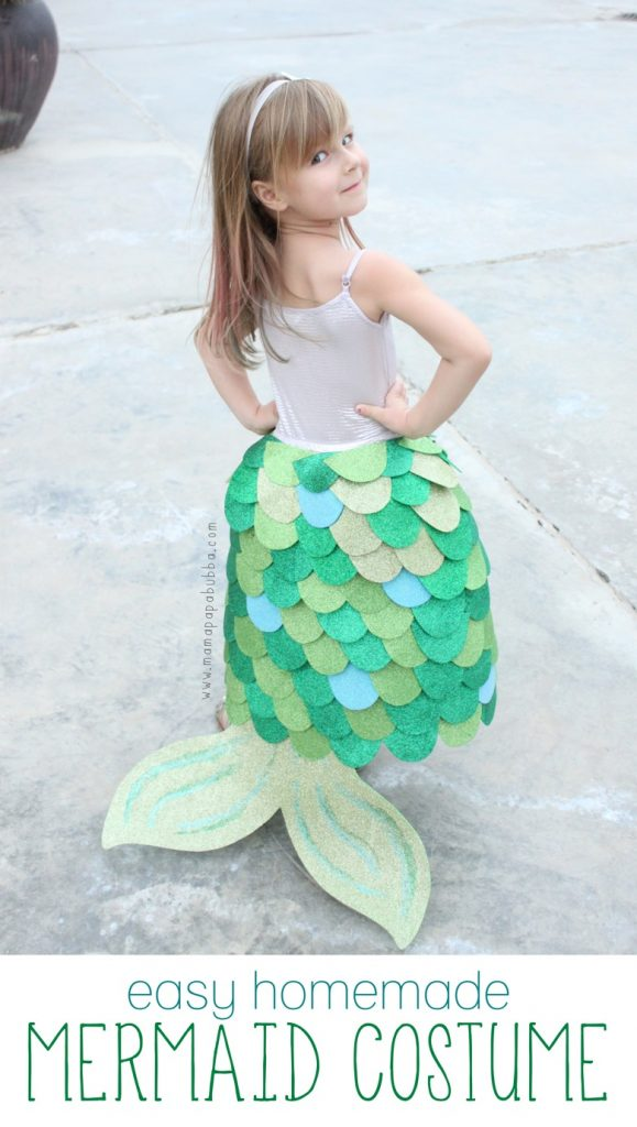 Such a sweet homemade mermaid costume. Perfect for Halloween