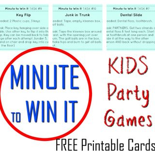 Minute to Win It Games for kids and families!! FREE printable cards! Awesome family fun with these simple 60 second challenges. #Minutetowinit #funforkids #newyearseve #newyearsevegames #familygames