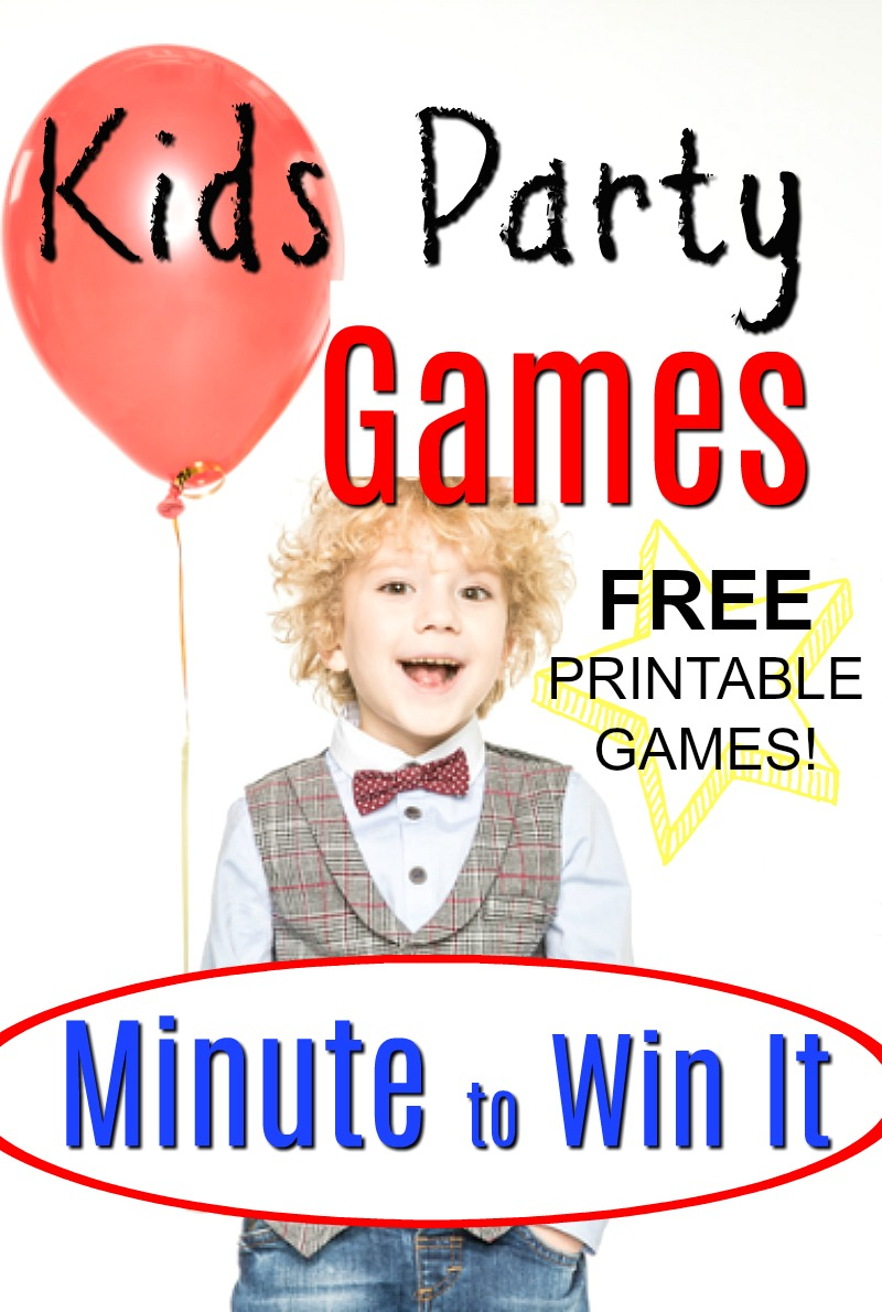 FREE Printable! Perfect for kids birthday party ideas - great kids games. Minute to Win It Games for kids and families!! Awesome family fun with these simple 60 second challenges. #HowWeeLearn #Birthdaypartyideas #kidsparties #partygames #Minutetowinit #funforkids #newyearseve #newyearsevegames #familygames