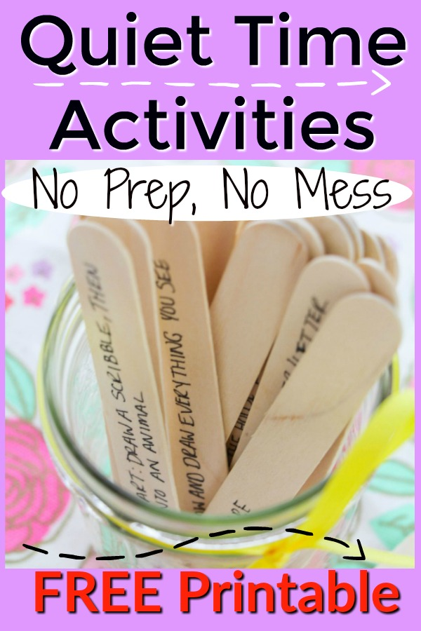 FREE PRINTABLE! These quiet time activities for kids are absolutely NO Prep and NO Mess! Grab an idea and have 15 minutes of peace and quiet. BRILLIANT. #howweelearn #quiettime #kidsactivities #freeprintable #noprep #nomess #messfree #preschoolactivities #craftsforkids #kidscrafts #playideas #simple