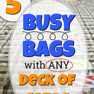 These are 5 busy bags that only use one deck of cards! Such simple, no-prep quiet time activities for preschoolers. #howweelearn #quiettime #busybags #kidsactivities #easy #preschoolactivities #deckofcards #playideas #quietboxes #quietbins