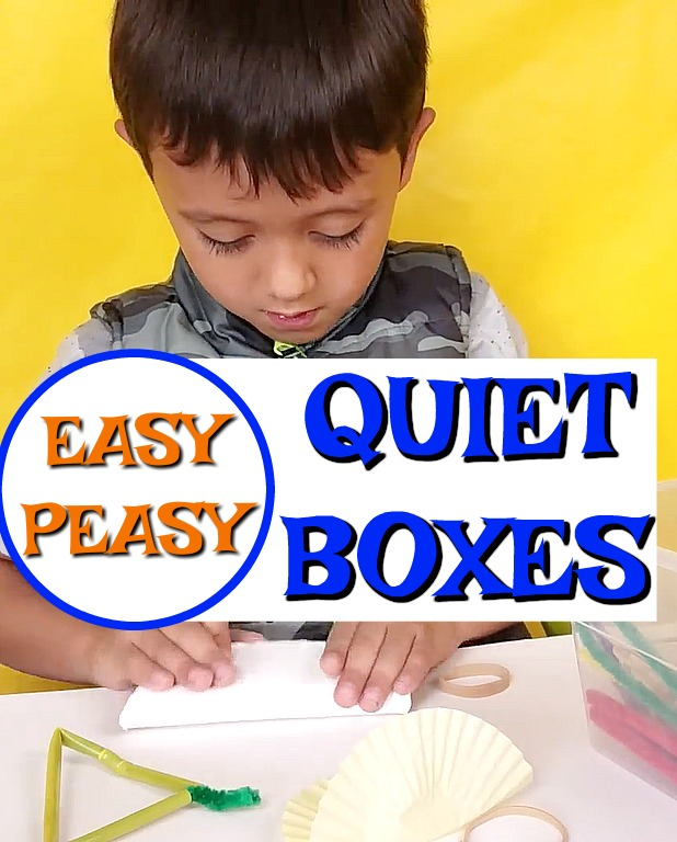 These quiet boxes are perfect for preschoolers who no longer nap. They are SO EASY to set up and there are 30 ideas! Awesome for learning and independent play. #HowWeeLearn #quiettime #busybags #quietboxes #playideas #finemotorskills #preschoolactivities #toddleractivities #play #kidsactiviites