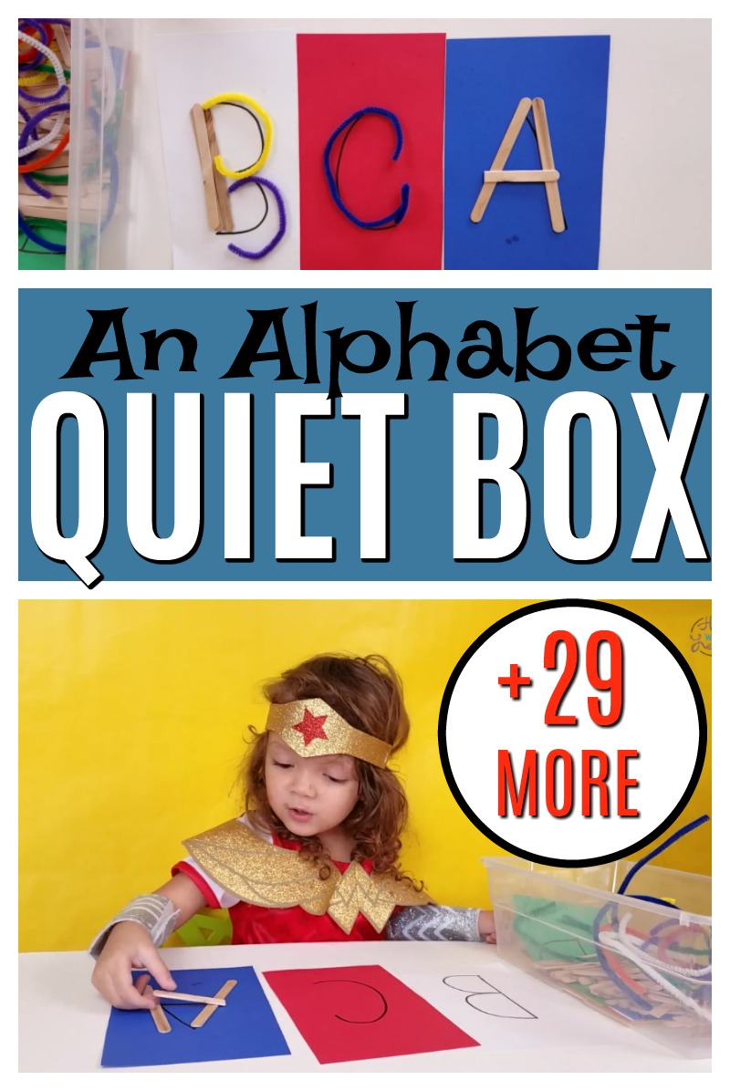 A fun way to practice making alphabet letters! And great for strengthening fine motor skills too. Love this busy bag! #howweelearn #quiettime #alphabet #letters #lettersounds #cvc #preschoolactivities