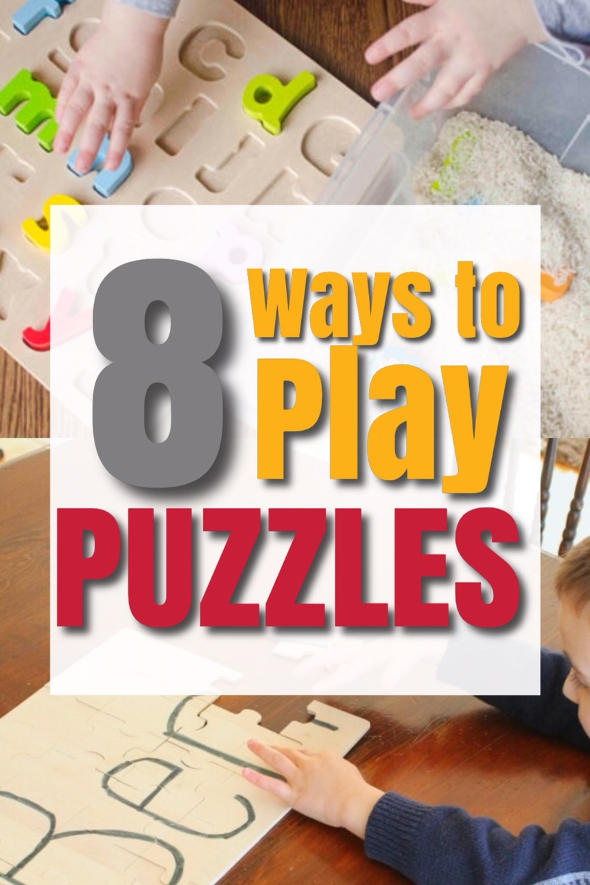 Such awesome ideas for playing with puzzles! These puzzle games and activities are perfect for a rainy day and great for a quiet time activity too! #howweelearn #puzzles #playideas #quiettime #busybags #preschoolactivities #kidsactivities #rainyday