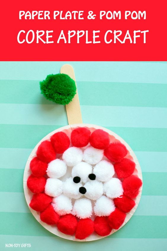 Your toddler will love making this quick and easy apple craft with pom-poms. Here you will find cute and simple apple crafts for kids, toddlers and preschoolers. #applecraft #fallcrafts #fallcraftsforkids #autumncrafts #preschoolcrafts #howweelearn