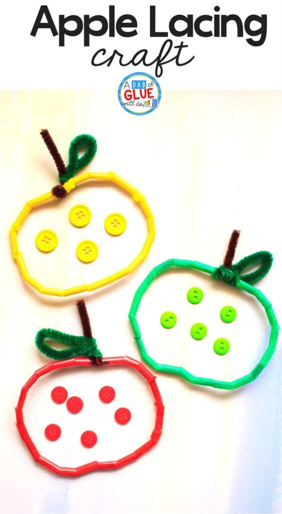 After strengthening their fine motor skills with this easy apple lacing craft, your child can use them for sorting and counting activities. Here you will find cute and simple apple crafts for kids, toddlers and preschoolers. #applecraft #fallcrafts #fallcraftsforkids #autumncrafts #preschoolcrafts #howweelearn