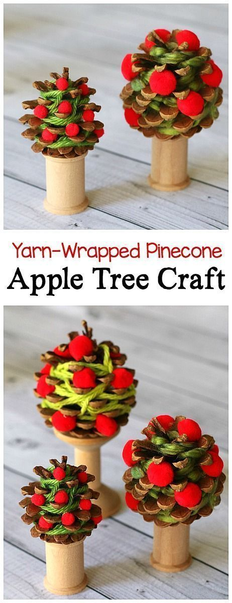 This adorable apple tree yarn craft would look beautiful in any home or classroom. Here you will find cute and simple apple crafts for kids, toddlers and preschoolers. #applecraft #fallcrafts #fallcraftsforkids #autumncrafts #preschoolcrafts #howweelearn