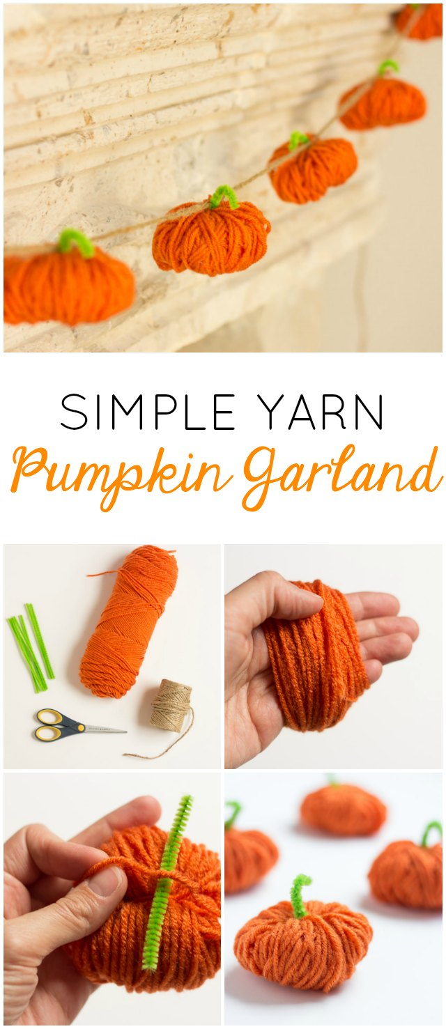 This Yarn Pumpkin Garland craft is a great opportunity for kids to practice their fine motor skills and will add beauty to any home. Here you'll find a variety of easy Halloween crafts for your kids, toddlers and preschoolers. #Howweelearn #Halloweencrafts #Craftsforkids