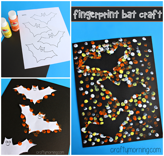 This beautiful fingerpainting bat craft is great for all ages! Here you'll find a variety of easy Halloween crafts for your kids, toddlers and preschoolers. #Howweelearn #Halloweencrafts #Craftsforkids