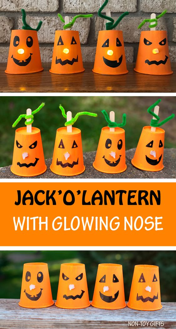Transform those battery-powered tealights into glowing jack-o-lanterns with your kids! Perfect for Halloween parties, or decorating on Halloween night! Here you'll find a variety of easy Halloween crafts for your kids, toddlers and preschoolers. #Howweelearn #Halloweencrafts #Craftsforkids