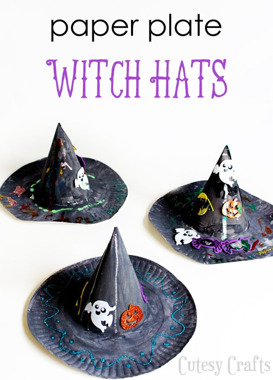 Kids will love decorating their own witch hat for a costume, Halloween play or for a Halloween party! Here you'll find a variety of easy Halloween crafts for your kids, toddlers and preschoolers. #Howweelearn #Halloweencrafts #Craftsforkids