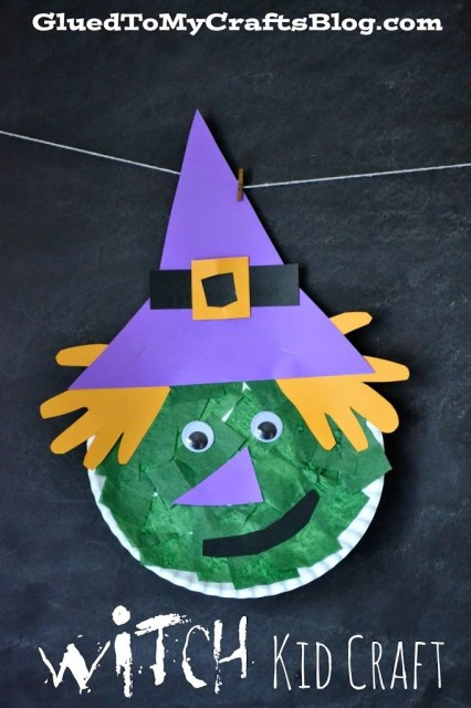 This is an adorable paper plate witch craft with so many possibilities! Here you'll find a variety of easy Halloween crafts for your kids, toddlers and preschoolers. #Howweelearn #Halloweencrafts #Craftsforkids