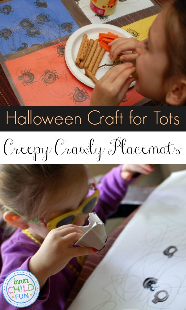 Add a fun spin to meal time with these Creepy Crawly Spider Placemats. Simple and fun for all ages! Here you'll find a variety of easy Halloween crafts for your kids, toddlers and preschoolers. #Howweelearn #Halloweencrafts #Craftsforkids