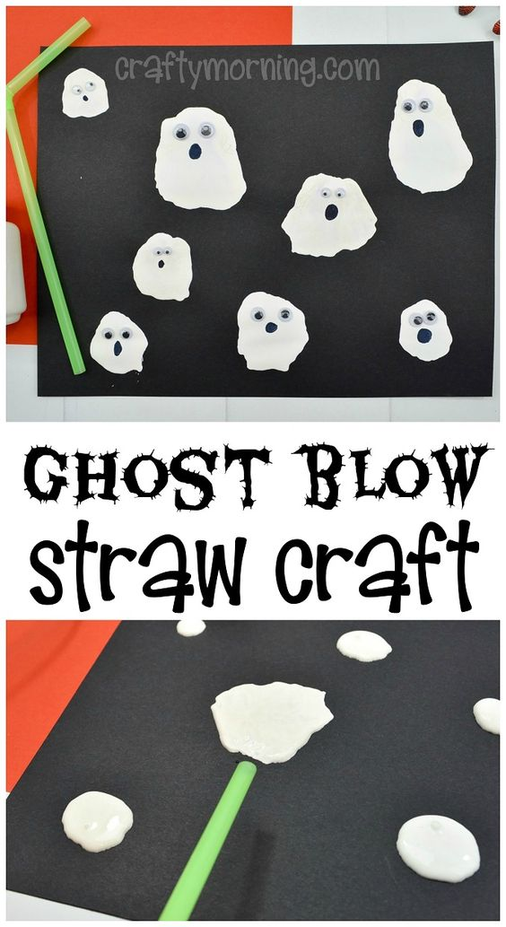 Watch these little ghosts literally blow across your page! Here you'll find a variety of easy Halloween crafts for your kids, toddlers and preschoolers. #Howweelearn #Halloweencrafts #Craftsforkids