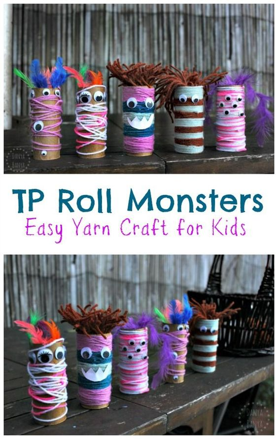 These toilet paper roll monsters are so fun for both decorating and play! Here you'll find a variety of easy Halloween crafts for your kids, toddlers and preschoolers. #Howweelearn #Halloweencrafts #Craftsforkids