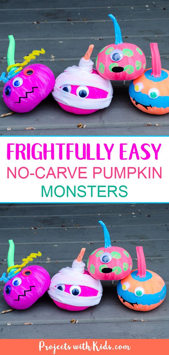 The possibilities are endless with these fun, no-carve pumpkins. Here you'll find a variety of easy Halloween crafts for your kids, toddlers and preschoolers. #Howweelearn #Halloweencrafts #Craftsforkids