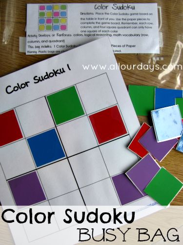 What a great way to introduce your child to the mind-stretching game of Sudoku! You can find more stellar busy bags for babies, toddlers, preschoolers and kids by clicking here! #howweelearn #busybags #quiettime #finemotor #preschoolactivities #kidsactivities