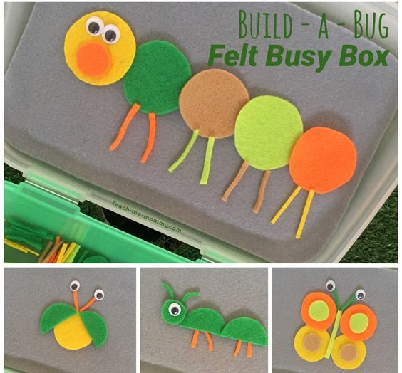 Your child can create a variety of bugs and other critters with a few felt shapes and googly eyes. You can find more stellar busy bags for babies, toddlers, preschoolers and kids by clicking here! #howweelearn #busybags #quiettime #finemotor #preschoolactivities #kidsactivities