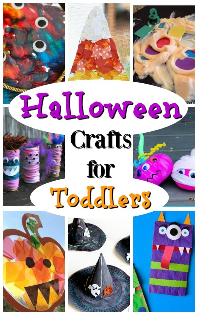 Great Halloween crafts for toddlers! Lots of pumpkin crafts, monster crafts, witch crafts, and spider crafts too! #howweelearn #halloween #halloweenideasforkids #halloweencrafts #craftsforkids