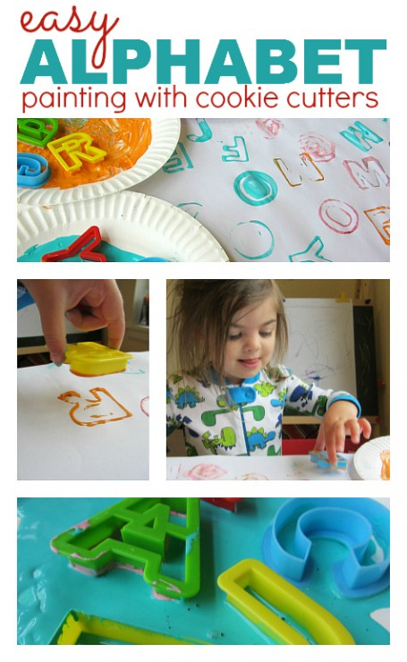 Practice letter recognition and make beautiful stamping art! Keep learning fresh and exciting with this awesome collection of letter activities for preschool! #howweelearn #abc #alphabet #alphabetactivities #letters #lettersounds #preschool