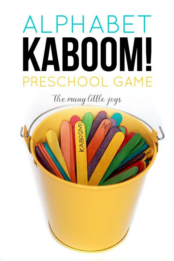 Collect more letters than your opponent before someone received a KABOOM stick and your win! Keep learning fresh and exciting with this awesome collection of letter activities for preschool! #howweelearn #abc #alphabet #alphabetactivities #letters #lettersounds #preschool