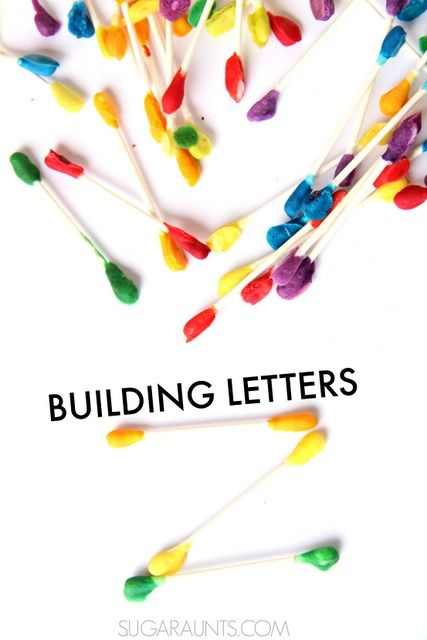 These easy to make cotton swabs are great for making letters! Keep learning fresh and exciting with this awesome collection of letter activities for preschool! #howweelearn #abc #alphabet #alphabetactivities #letters #lettersounds #preschool