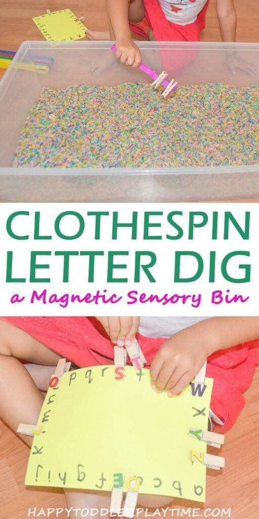 Your preschooler will use a magnet to help them search for letters to match to a letter card in this fun sensory bin activity. Keep learning fresh and exciting with this awesome collection of letter activities for preschool! #howweelearn #abc #alphabet #alphabetactivities #letters #lettersounds #preschool