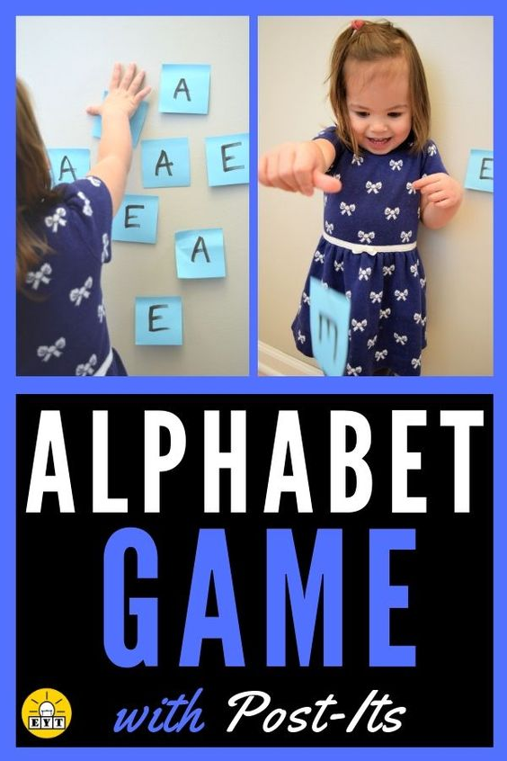 Keep your preschooler moving with this letter-learning game! This game is so easy to set-up and only requires sticky notes and a marker. Keep learning fresh and exciting with this awesome collection of letter activities for preschool! #howweelearn #abc #alphabet #alphabetactivities #letters #lettersounds #preschool