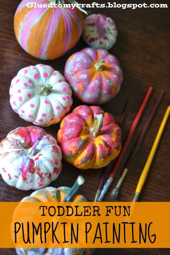 Kids can create almost anything by painting their pumpkins. They can go for abstract patters or paint their favorite character. Here is a list of more pumpkin decorating ideas that toddlers, preschoolers and kids of all ages can create! #howweelearn #pumpkincarving #pumpkindecorating #jackolantern # halloween #kidsactivities