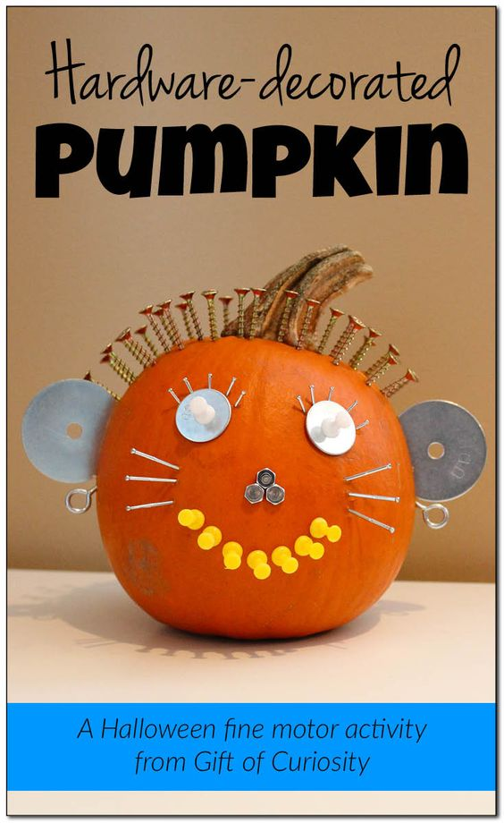 Gather up a collection of random hardware and office supplies and watch your children come up with some scary and funny Halloween pumpkin faces. Here is a list of more pumpkin decorating ideas that toddlers, preschoolers and kids of all ages can create! #howweelearn #pumpkincarving #pumpkindecorating #jackolantern # halloween #kidsactivities