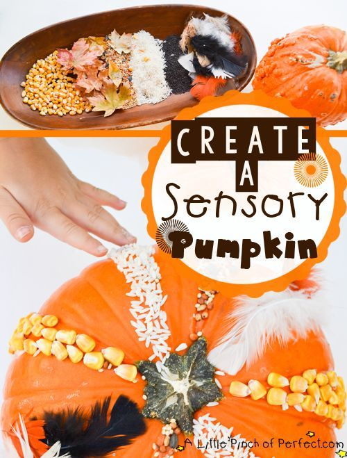 You can make a simple sensory pumpkin with craft supplies or items found in nature! Here is a list of more pumpkin decorating ideas that toddlers, preschoolers and kids of all ages can create! #howweelearn #pumpkincarving #pumpkindecorating #jackolantern # halloween #kidsactivities