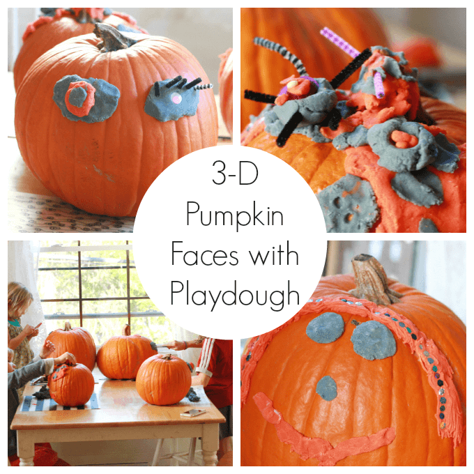 Play dough can be used for pumpkin decorating too! Find out how! Here is a list of more pumpkin decorating ideas that toddlers, preschoolers and kids of all ages can create! #howweelearn #pumpkincarving #pumpkindecorating #jackolantern # halloween #kidsactivities